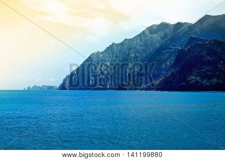 Coastal landscape in Madeira in the sprigtime Portugal