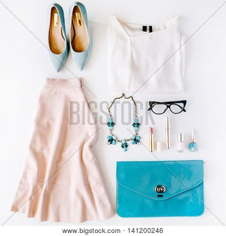 feminine summer clothes and accessories collage on white background. flat lay top view
