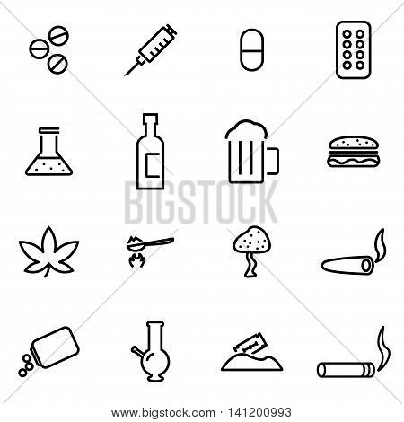 Vector line drugs icon set on white background