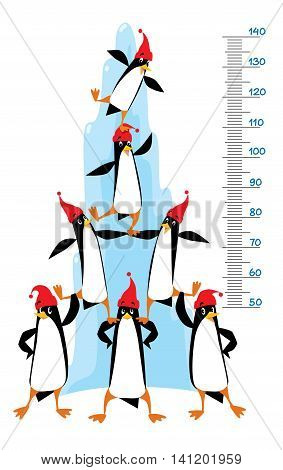 Meter wall or height meter of funny penguins in beanie or cap with pompom or bobble near the ice rock. Children vector illustration with a scale to measure growth. Height chart