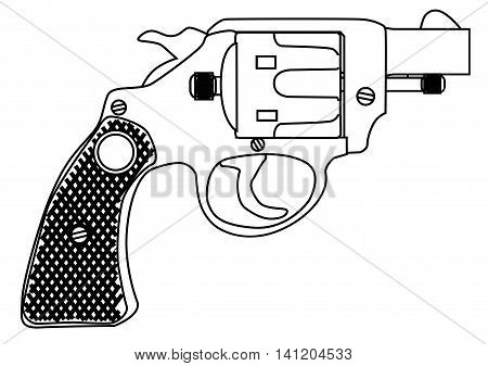 A snub nose handgun as used by police forces isolated over a white bavkground.