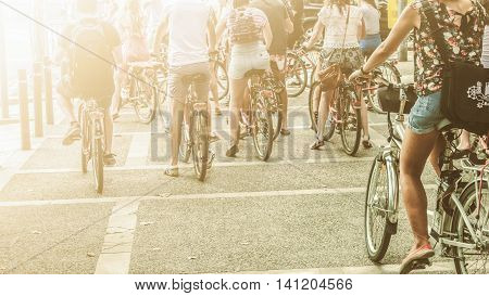 Group of tourist cycling. Sightseeing on bicycles