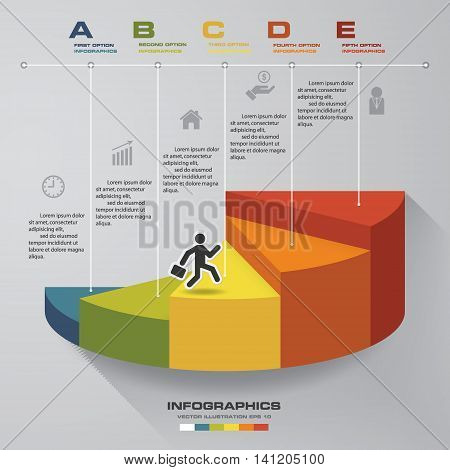 5 steps template for presentation. man walking on stairs use for Infographics design with 5 options timelines. EPS10.