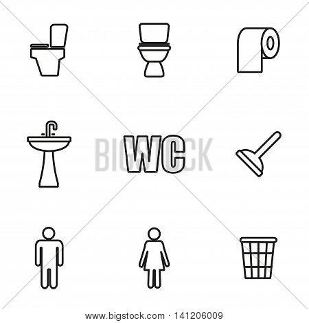 Vector line toilet icon set on white background