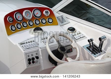 Yacht control wheel and control panel. Transport