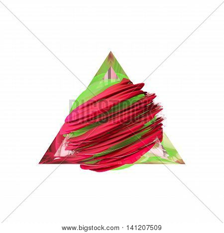 Render red abstract field inside a glass triangle