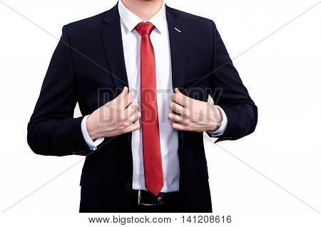 business and office concept - handsome buisnessman in suit.