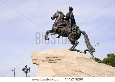 Monument to Russian Emperor Peter Great (Peter First) in historical city center of Saint-Petersburg, Russia. Popular touristic landmark. UNESCO World Heritage Site.