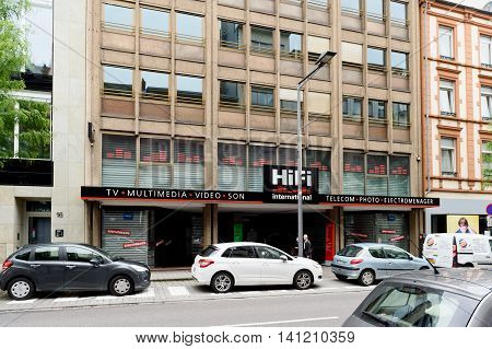 LUXEMBOURG LUXEMBOURG - JUNE 5 2016: Hi-Fi- International store selling high-end Tv Multimedia Video and Audio Telecom Photo and house appliances products in the center of Luxembourg. It is one of the oldest store in Luxembourg