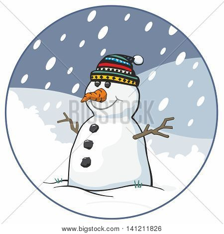 Snowman with bobble hat and carrot nose in circular snow scene cartoon vector illustration
