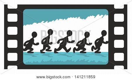 Animation Frames of Walking Stylized Man over Scribble Background in Film Frame