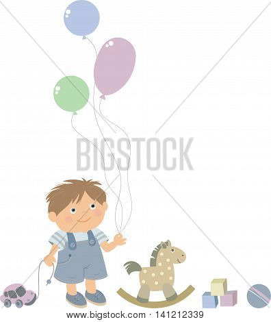 boy playing with his toys  vector illustration