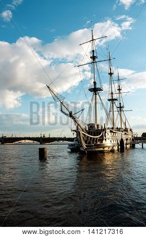 Frigate on the Neva river in St.Petersburg. Ship on the river