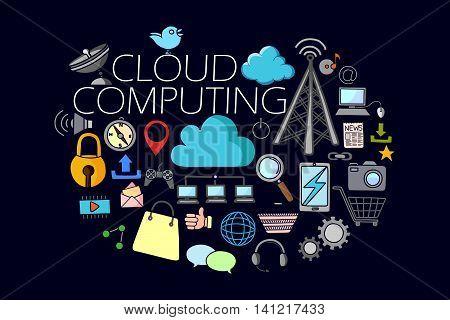 vector illustration of flat line art design of Cloud Computing concept for web design template