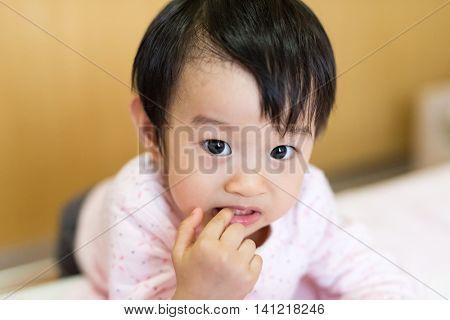 Asian Baby Girl Suckle Finger