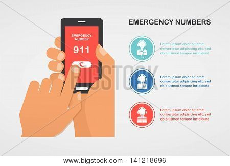 hand press emergency number 911 on a mobile phone calling for help. vector illustration