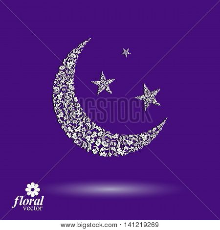 New Moon placed on a starry sky beautiful art vector illustration flowery lullaby stylized icon sleep time idea.