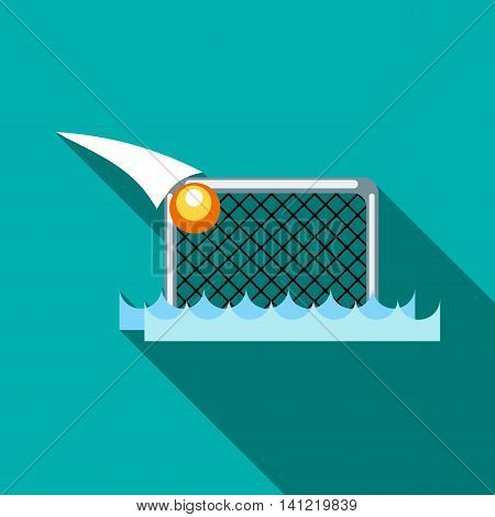 Water polo gates and ball icon in flat style on a turquoise background