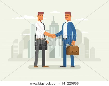 Business partners flat design. Partnership businessman, success cooperation and teamwork, vector illustration