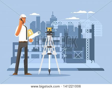 Foreman on construction flat design. Builder work on site, engineer or contractor, vector illustration