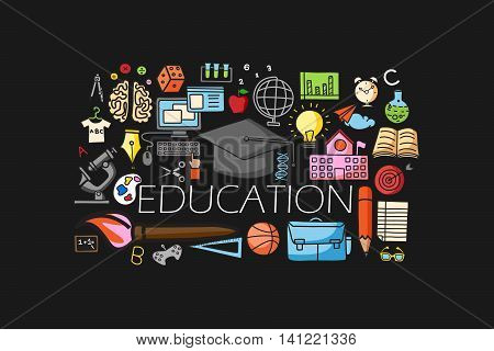 vector illustration of flat line art design of Education concept