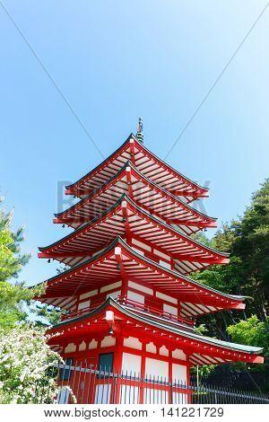 Chureito Pagoda in Summer Fujiyoshida in Japan