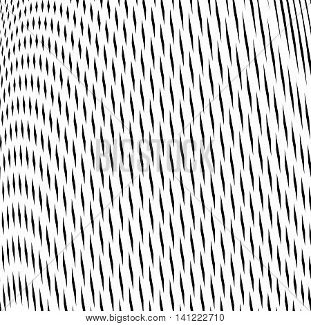 Optical illusion creative black and white graphic moire backdrop.