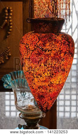 Traditional arabic glass lampshades on display in traditional market in Damascus, Syria