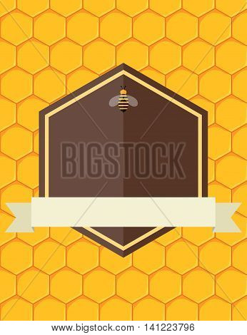 Honeycomb vector poster design with blank space