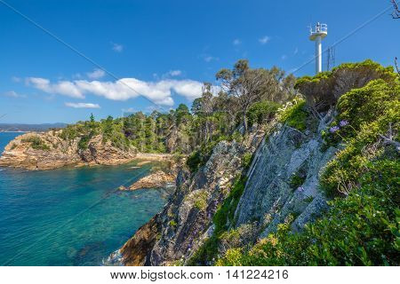 Rotary Park lookout: the cliffs of the spectacular Eden in the sapphire coast, on Twofold Bay, is a coastal town in the South Coast region of New South Wales, Australia