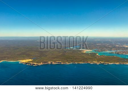 Aerial view of Bate Bay located south of Sydney, New South Wales, in eastern Australia. The bay is south of the Kurnell peninsula and its foreshore makes up the beaches of Cronulla.