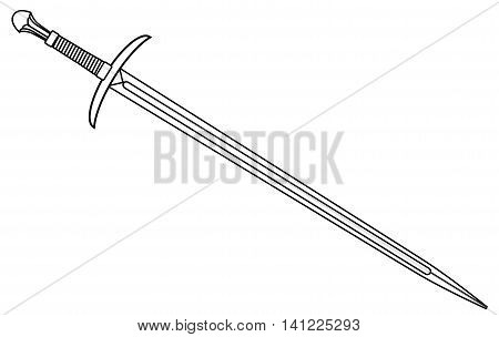A sword typical of a knight of old isolated on a white background, Vector