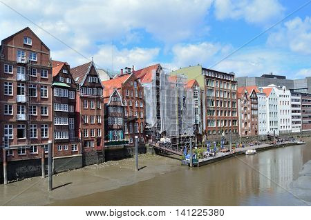 Hamburg Germany. Old buildings on the bank of canal Nicolai-fleet