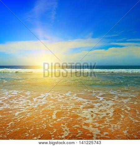 ocean sandy beach blue sky and sunrise