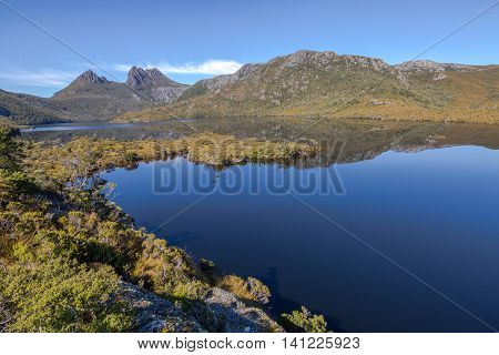 Dove Lake is is an ancient glacial lake near Cradle Mountain in Tasmania, Australia. It lies in the famous tourist and Cradle Mountain and Lake St Clair National Park.