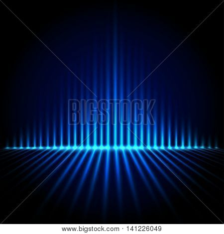 Blue abstract background with beautiful pyramid rays of light, vector illustration