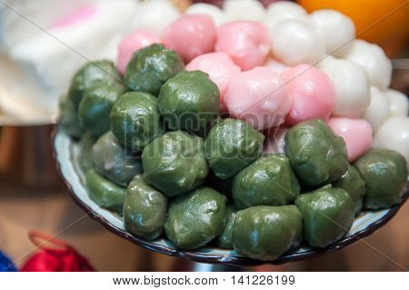 Korean Food, Plate Of Songpyeon, A Korean Rice Cake