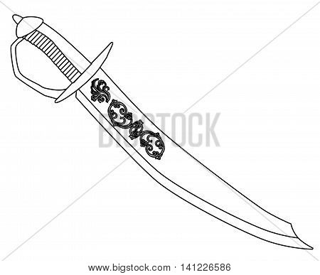 A typical pirate cutlas isolated on a white background, Vector