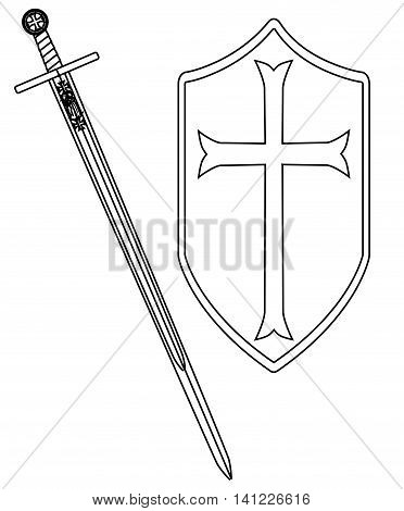 A sword of the type ised by a crusader around 1100 AD isolated on a white background, Vector