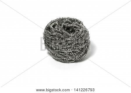Cleaning steel wire wool scrub scourer metal on white background