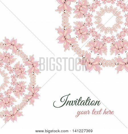 Invitation with mandala made from hand drawn flowers. Vector illustration.
