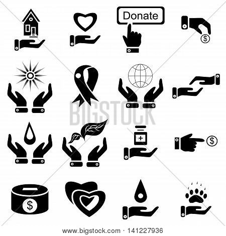 Simple charity icons set. Universal charity icons to use for web and mobile UI, set of basic charity elements vector illustration