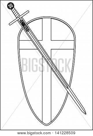 The traditional sword and shield associated with a crusader isolated on a white background