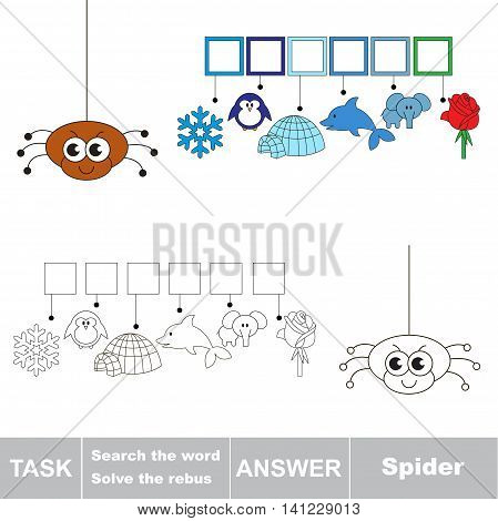 Vector rebus game for children. Easy educational kid game. Simple game level. Find solution and write the hidden word Spider