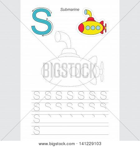 Vector illustrated worksheet. Learn handwriting. Gaming and education. Page to be traced. Easy educational kid game. Simple level. Complete eng alphabet. Tracing worksheet for letter S. Submarine.