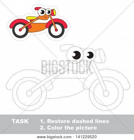 Bike in vector to be traced. Easy educational kid game. Simple level of difficulty. Restore dashed line and color the picture. Trace game for children. Vector