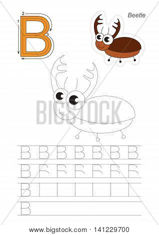 Vector illustrated worksheet. Learn handwriting. Gaming and education. Page to be traced. Easy educational kid game. Simple level. Complete eng alphabet. Tracing worksheet for letter B. Bug.
