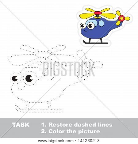 Funny helicopter in vector to be traced. Easy educational kid game. Simple level of difficulty. Restore dashed line and color the picture. Trace game for children. Vector