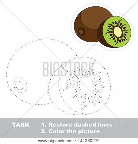 Kiwifruit in vector to be traced. Easy educational kid game. Simple level of difficulty. Restore dashed line and color the picture. Trace game for children. Vector