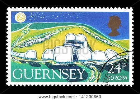GUERNSEY - CIRCA 1994 : Cancelled postage stamp printed by Guernsey, that shows Burial site.